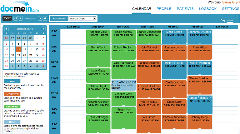 Docmein Features Color Coded Calendar